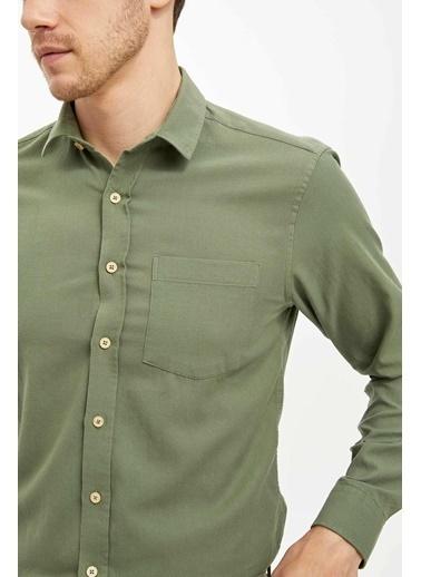 DeFacto Uzun Kollu Slim Fit Gömlek Yeşil